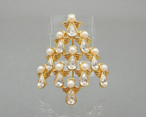 Vintage Nina Ricci for Avon Angel Christmas Tree Brooch - Gold Tone, Rhinestones, Faux Pearls