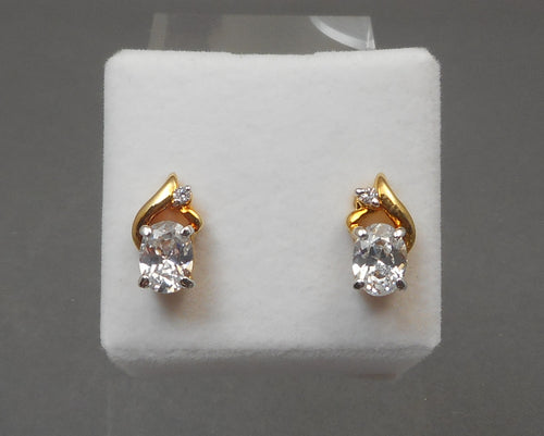 Vintage Faux Diamond Earrings - Large Oval CZs, 14K Gold Plated Setting