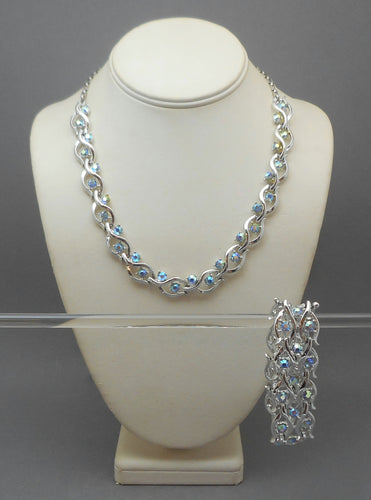 Vintage 1950s Jewelry Set - Silver Tone Necklace and Bracelet, Blue Aurora Borealis Rhinestones