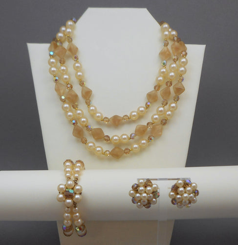 Vintage 1950s Jewelry Set - Necklace, Bracelet, Earrings - Lucite, Glass, Faux Pearls