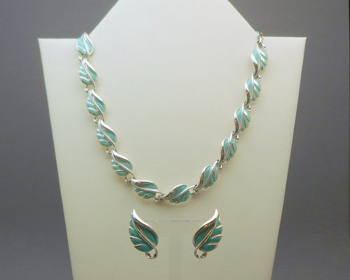 Vintage 1950s Coro Jewelry Set - Leaf Design Earrings and Necklace - Silver Tone, Turquoise