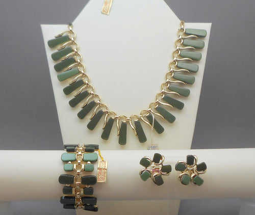 Vintage Mid Century Claudette Jewelry Set with Tags - Necklace, Bracelet, Earrings