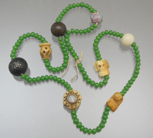 Set of Vintage or Antique Japanese Ojime Beads - Bone, Glass, Wood