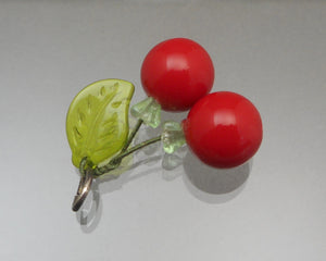 Vintage 1950s Lucite and Glass Cherry Pendant - Red and Green