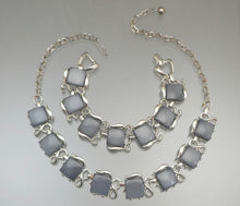 Load image into Gallery viewer, Vintage Mid Century Faux Grey Moonstone Jewelry Set - Necklace and Bracelet, Thermoset Plastic