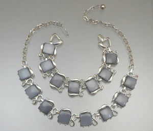 Vintage Mid Century Faux Grey Moonstone Jewelry Set - Necklace and Bracelet, Thermoset Plastic