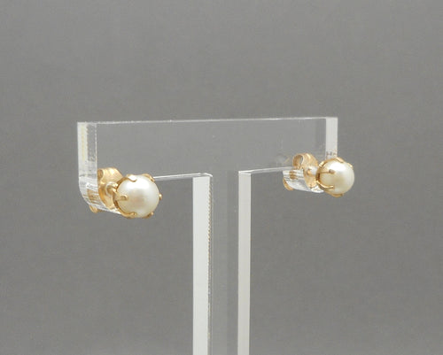 Vintage Pearl Stud Earrings - Genuine Pearls in 14K Gold Setting
