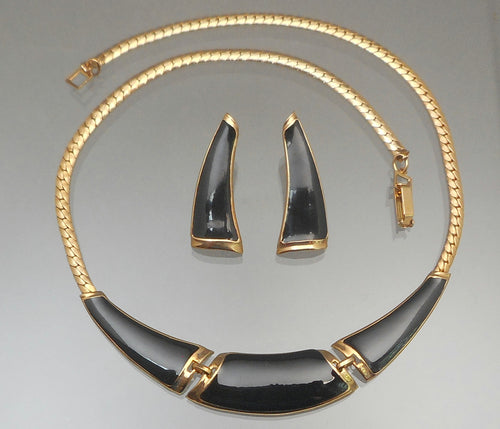 Vintage 1970s Jewelry Set - Modernist Design Post Earrings and Necklace - Gold Tone, Black Enamel