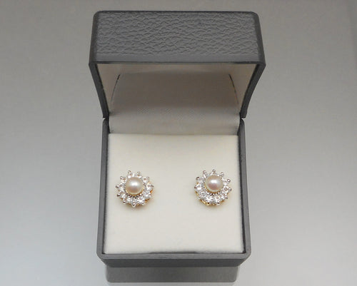 Vintage Genuine Pearl and Faux Diamond Flower Earrings - Cubic Zirconia Stones, Gold Tone Settings