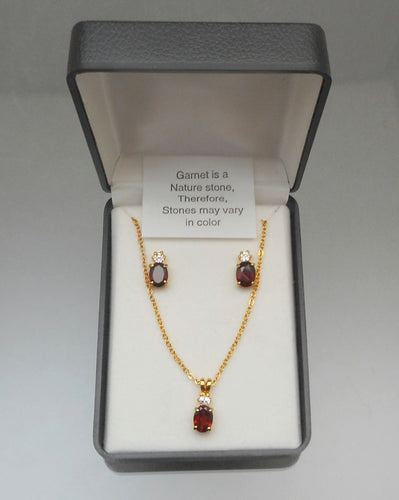 Vintage Genuine Garnet Jewelry Set - Earrings and Pendant Necklace with Rhinestone or CZ Stones