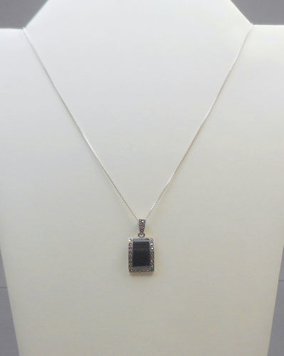 Vintage Onyx and Marcasite Pendant Necklace - Art Deco Revival Style, Sterling Silver Chain