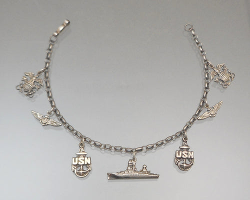 Vintage 1940s WWII US Navy Sweetheart Bracelet Sterling Silver with Charms