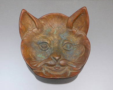 Vintage Ball & Ball Brass or Bronze Cat Face Ashtray