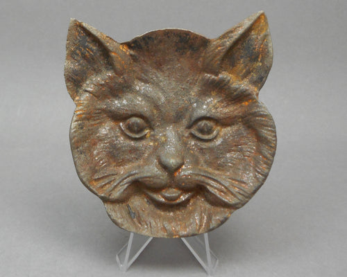 Vintage Virginia Metalcrafters Cast Iron Cat Face Ashtray