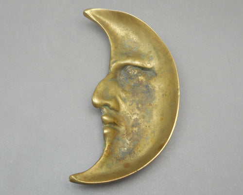Vintage Brass Man in the Moon Ashtray