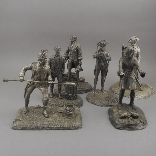 Lot of 6 Franklin Mint Pewter Soldier Figurines - Revolutionary War - 1976 and 1977