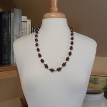 Load image into Gallery viewer, Vintage Handmade Garnet Necklace - Bead Clusters and Natural Pearls