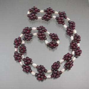 Vintage Handmade Garnet Necklace - Bead Clusters and Natural Pearls
