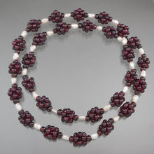 "Load image into Gallery viewer, Vintage Handcrafted Garnet Bead Necklace. Maker unknown. Clusters of garnet beads strung with natural pearls.  Approximately 1/2"" x 27 1/2""  Excellent vintage pre-owned condition.  FREE US Shipping"