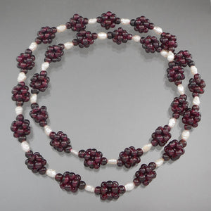 "Vintage Handcrafted Garnet Bead Necklace. Maker unknown. Clusters of garnet beads strung with natural pearls.  Approximately 1/2"" x 27 1/2""  Excellent vintage pre-owned condition.  FREE US Shipping"