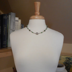 Vintage Handcrafted Collar Necklace with Flower Charm - Sterling Silver with Green Glass Beads