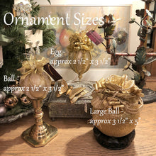"Load image into Gallery viewer, Large Moiré Faille Taffeta Ball Christmas Ornament in Three Colors - Handmade by Towers and Turrets - ""Christine"""