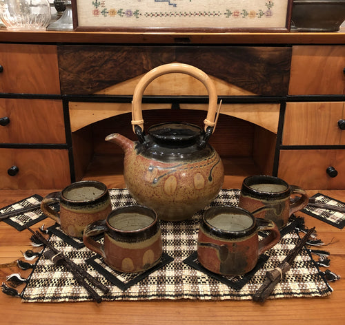 Vintage Artisan Crafted Ceramic Teapot and 4 Cup Set - Hand Made, Asian Style, Pottery and Bamboo