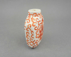 Antique 19th Century Chinese Snuff Bottle - Qing Dynasty, White Porcelain with Iron Red Decoration