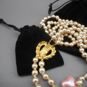 Vintage Joan Rivers Faux Pearl Necklace Set - Interchangeable Heart Clasp, Double Strand - Signed Designer Estate Costume Jewelry