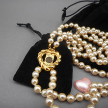 Load image into Gallery viewer, Vintage Joan Rivers Faux Pearl Necklace Set - Interchangeable Heart Clasp, Double Strand - Signed Designer Estate Costume Jewelry