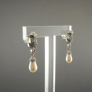 Vintage Judith Jack Dangle Earrings - Sterling Silver, Marcasite, Crystal Tulips, Teardrop Faux Pearls - Flower Design