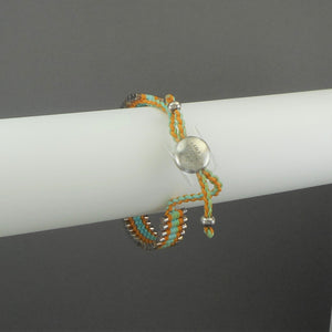 Links of London Ladies Friendship Bracelet - Unused with Box, Pouch - Turquoise, Yellow, Silver