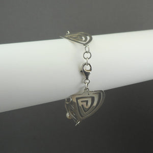 Vintage Modernist Design Artisan Bracelet - Handmade, Sterling Silver with Faux Pearls