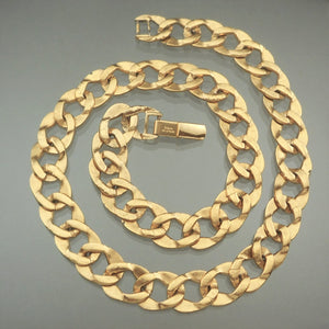 Vintage Napier Curb Link Chain Necklace - Textured Gold Tone - circa 1980