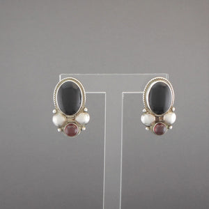 Vintage Sterling Silver, Onyx and Amber Earrings - Southwestern Style, Circa 1990, Posts