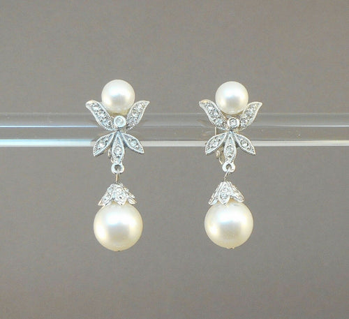 Vintage Butterfly Design Rhinestone Dangle Clip On Earrings with Faux Pearls - Formal, Wedding