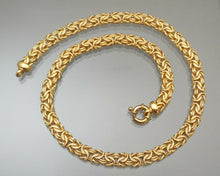 "Load image into Gallery viewer, This is a vintage sterling silver Byzantine link chain necklace signed with Veronese V mark. Circa 1990. Reversible with polished finish on one side and textured finish on the other.  Approximately 8mm x 18"", 34.8 grams  Excellent vintage pre-owned condition. Free US Shipping"