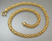 "Load image into Gallery viewer, Vintage 18"" Veronese Reversible Byzantine Link Chain - 18K Gold Plate on Sterling Silver - Signed Designer Necklace"