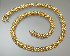"Vintage 18"" Veronese Reversible Byzantine Link Chain - 18K Gold Plate on Sterling Silver - Signed Designer Necklace"