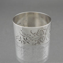 Load image into Gallery viewer, Antique Aesthetic Movement Victorian Era Napkin Ring, circa 1880 - Sterling Silver - DEM Monogram