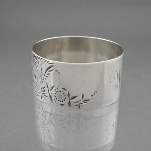 Antique Aesthetic Movement Victorian Era Napkin Ring, circa 1880 - Sterling Silver - DEM Monogram