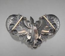 Load image into Gallery viewer, Antique Victorian Belt, Sash, Cloak or Cape Buckle - Lizard Design, Rococo Embossing - Silver Plated Brass