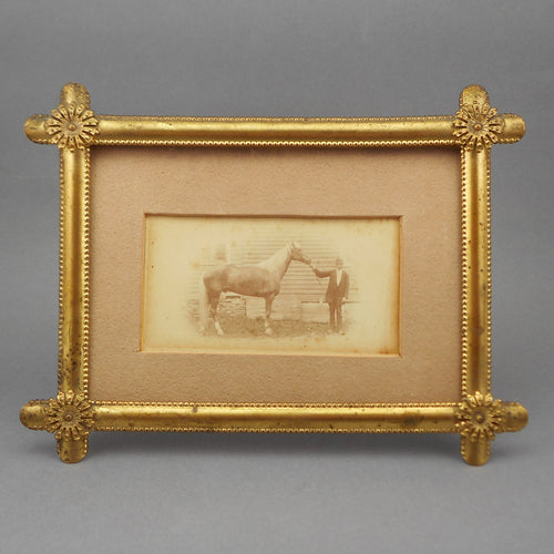 Antique Edwardian Gilt Picture Frame - Table Top / Easel with Gold Finish - Photograph of a Man and Horse