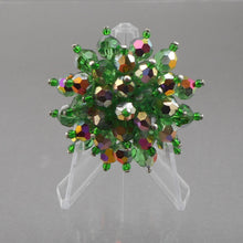 Load image into Gallery viewer, Vintage 1950s Bead Cluster Brooch - AB Green Glass, Flower Design Pin - Estate Costume Jewelry