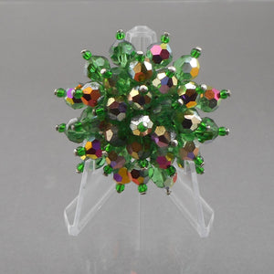 Vintage 1950s Bead Cluster Brooch - AB Green Glass, Flower Design Pin - Estate Costume Jewelry