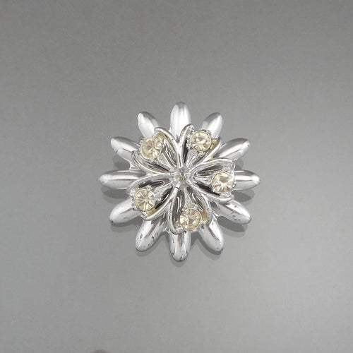 Vintage 1950s Rhinestone Brooch - Silver Tone, Flower Design - Estate Costume Jewelry