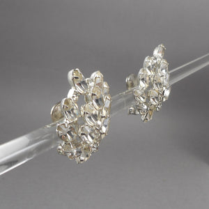 Large Vintage 1950s Weiss Rhinestone Clip On Earrings - Signed Designer Costume Jewelry
