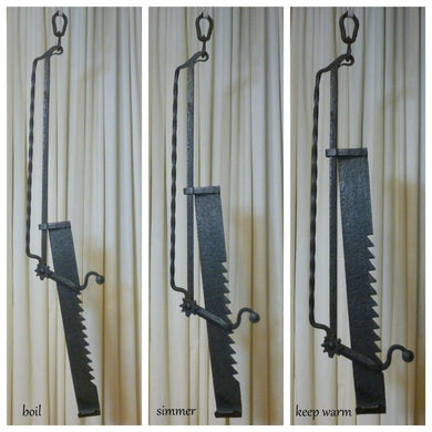 Antique Early 19th C Sawtooth Fireplace Trammel Hook Wrought Iron