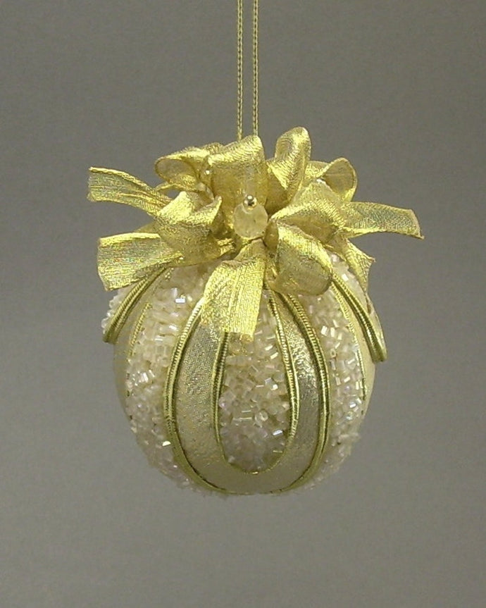 Metallic Lamé Ball Christmas Ornament in 4 Colors - Handmade by Towers and Turrets -