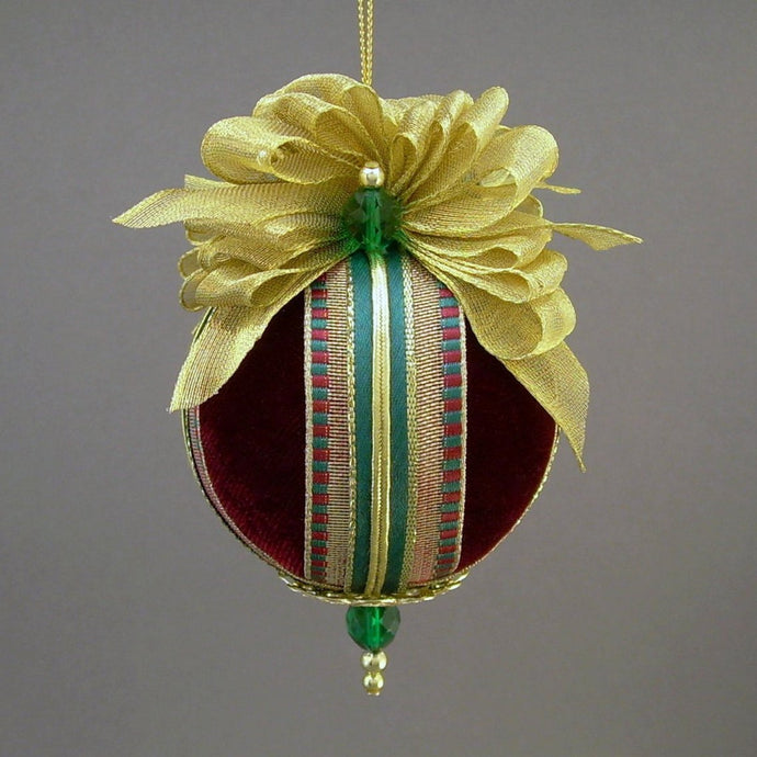 Velvet Ball Christmas Ornament - Handmade by Towers and Turrets -